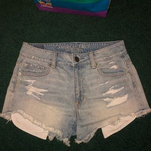American Eagle High waist distressed Denim Shorts